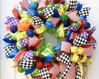 Celebration Wreath, Birthday Wreath, Deco Mesh Wreath, Party Decor, Birthday decoration, Classroom Wreath, door wreath, rainbow wreath