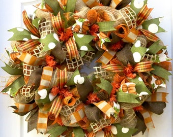 Fall Wreaths for Front Door, Fall Wreath, Fall deco mesh wreath, Autumn Wreath, Door Wreath, Fall Decoration, Autumn, Thanksgiving Wreath
