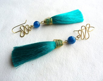 Earrings gold, green Emerald and teal / brass, agate and silk / oversize designer earrings