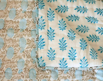 Baby quilt, reversible cotton quilt, infant quilt, baby blanket, baby gift, cotton infant quilt, turquoise and gray baby bedcover
