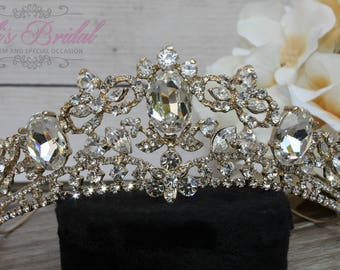 FAST SHIPPING!! Gold Swarovski Tiara, Quinceañera Tiara, Crystal Tiara ,Wedding Tiara ,Crown , Wedding Headpiece, Bridal Tiara