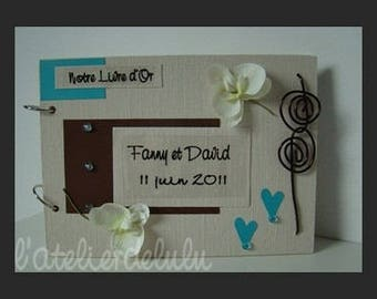 Guest book keepsake wedding orchids