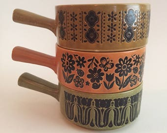 Vintage 70s Stoneware Soup Bowls with Handles Mod Retro Design Stackable Made in Japan