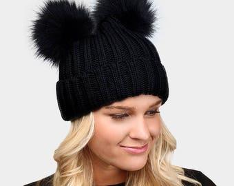 Fur Pom Pom Black Beanie Winter Hat