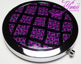 Purple Fimo round Pocket mirror