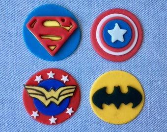 12 Super Hero Symbols (Wonder Woman ,Batman, Captain America, and Superman) fondant cupcake topper