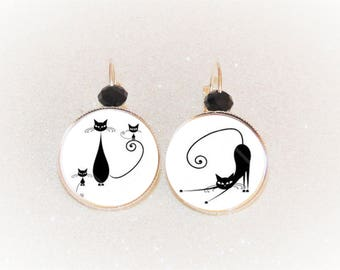 Earrings sleepers silver cabochon black cat