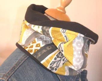 Snood neck cotton/fleece geometric Black/Yellow mustard/grey