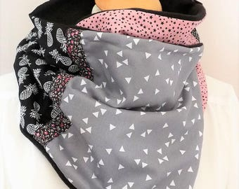 Snood round neck/scarf clip button patchwork pink/black/gray triangle squares geometric/pineapple/stars