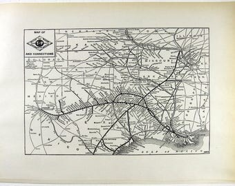 Original 1941 Texas and Pacific Railway System Map. Vintage