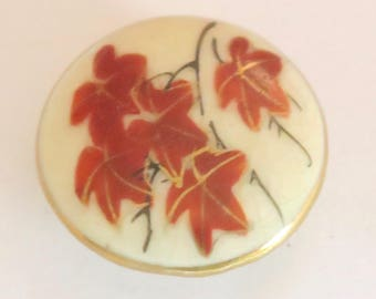 Satsuma Button With Red Autumn Maple Leaves
