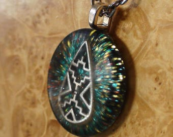 Cosmic Aztec Teardrop Antennas For the Soul Masculine Shaman Turquoise/Gold Chakra-Tuning Crystal Ormus Orgone-Energy 25mm Pendant Necklace