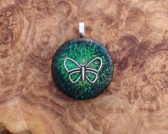 Night Moon Moth Butterfly Harmonized Crystal Ormus Orgone Energy Unisex Pendant Necklace 25mm Black Green Psychic Awareness Intuition Joy