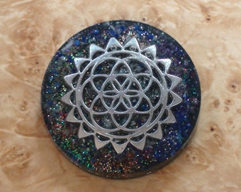 Silver Flower of Life Crystal Rainbow Mantra Sacred Geometry Orgone Energy 40mm Pendant Necklace Ormus Orgone Moldavite Meteorite