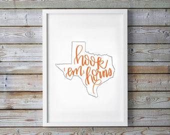 University of Texas Longhorns Printable - Hook Em Horns - TX - Dorm Decor - Calligraphy - Digital Art - Instant Download - College