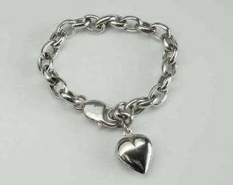Vintage Sterling Silver Puffy Heart Charm Lobster Clasp Bracelet