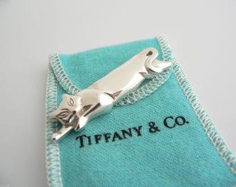 Vintage Tiffany Sleeping Cat Sterling Silver Brooch Pin W Pouch