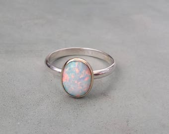 White opal engagement ring,unique alternative engagement ring,9k gold and silver opal ring,white oval opal ring,opal cabochon ring