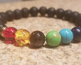 Seven chakra lava rock diffuser bracelet