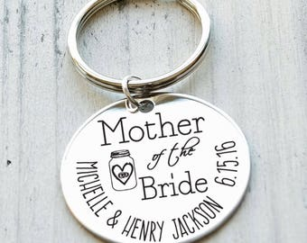 Mother of the Bride (or Groom) Personalized Key Chain - Engraved