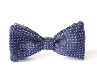 Blue Bow Tie for Men, Geometric Bow Tie, Statement Royal Blue Bow tie, Wedding Bow Tie, Blue n' Red Bow Tie, Jacquard Bow Tie, Men's Bow Tie
