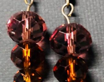 Brown and Purple drop earrings