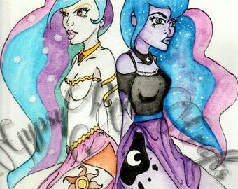 Princess Celestia and Princess Luna Fan Art Original Artwork