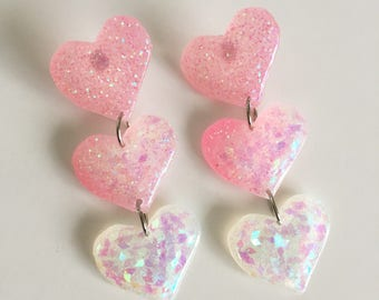 Love Bite Trio Earrings - Pink/White