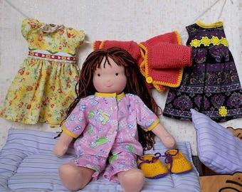 15 inch soft natural waldorf doll, eco friendly rag doll, textile doll, fabric doll, custom doll, cloth doll, personalized doll