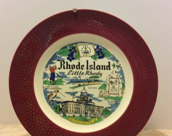Vintage Souvenir Plate Rhode Island Homer Laughlin USA Shabby Chic Country Kitchen Decor Collectible Wall Plate
