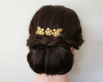 Gold hair comb, gold wedding hair comb, gold wedding hair piece, gold  bridal hair comb, gold bridal hair piece, gold flower hair comb