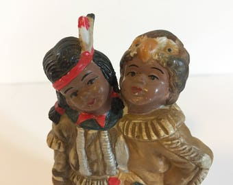 Native American Vintage Squaw and Brave Bisque Ceramic Figurine Collectible