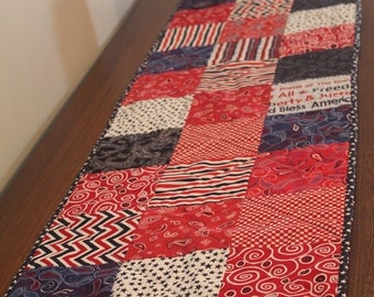 Red, White & Blue Scrappy Patchwork Quilted Table Runner
