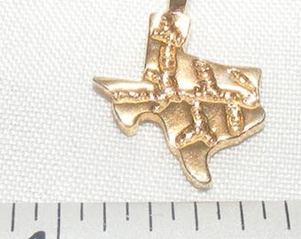 "Vintage Small State of ""Texas"" Gold Tone Charm"