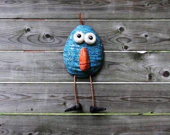 ceramic bird, bird figurine, handmade bird, blue bird, bird art, bird, wall bird