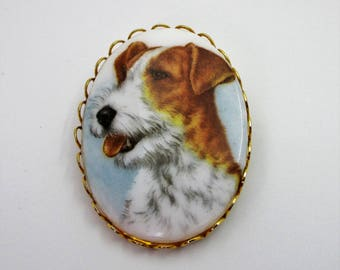 Jack Russell Terrier Dog Glass Brooch - Transferware Dog Brooch - Victorian Style Dog Brooch