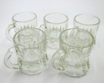 Set of 5 Miniature Beer Mug Shot Glasses - Federal Glass Co. - Kitsch Barware - Bar Gag Gift - Mini Beer Stein - Beer Mug Toothpick Holder