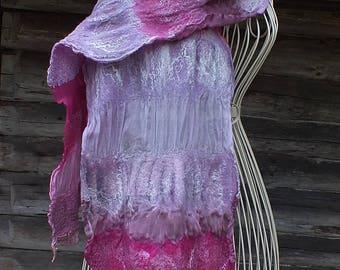 Nuno Felted Shawl, Nunofelt Silk Shawl, Nunofelted Silk Scarf, Pink Silk Scarf