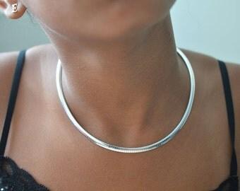 Silver choker omega style,Women's choker gifts,Choker necklaces,Choker jewelry, work chocker style jewelry.