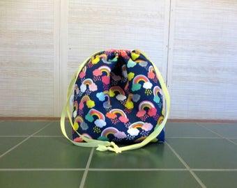 Rainbows - Large Drawstring, Divided Knitting Project Bag, Crochet Bag, Sweater Project Bag, Knitting Organizer, Unicorns