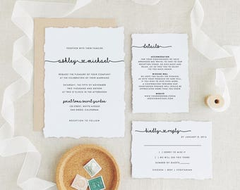 Wedding Invitations Template, Printable Wedding Invitation, Whimsical Wedding, Wreath Invitation Suite, Edit in Word or Pages