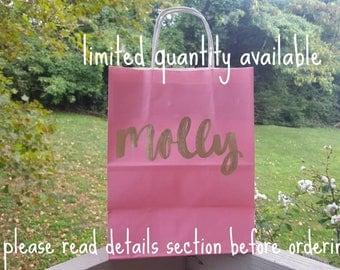 Pink Limited Quantity Custom Gift Bag - Handlettered Gift Bag - Bridal Party Gift Bag- Bachelorette Party Gift Bag - Custom Gift Bags