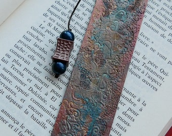 """Grab"" engraved and painted leather bookmark"