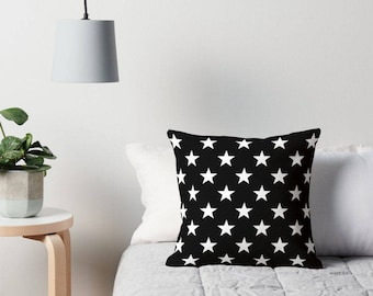 Star Pillow, Black and White Star Pillow, Star Toss Pillow, Star Pillow Case, Star Throw Pillow, Star Pillow Case, Star Decor, Star Bedding