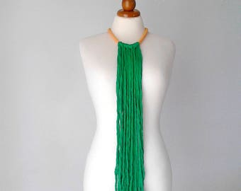 Hippie jewelry mexican necklace long fringe necklace Frida Kahlo jewelry gypsy necklace artisan necklace emerald necklace funky necklace
