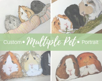 CUSTOM MULTIPLE PET Portrait: Cute Original Keepsake Watercolor Small Pet Art Bunny Rabbit Guinea Pig Mouse Hamster