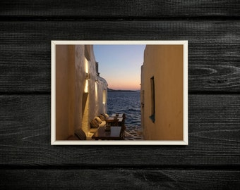 Sunset Over the Mediterranean Sea, Alleyway in Mykonos Greece Travel Photography Print