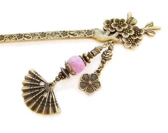 Metal sakura hair stick with pink-purple bead, big fan charm - cherry blossom flowers, japanese kanzashi, chopstick hair piece decoration