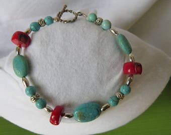 Turquoise and red coral and silver bracelet