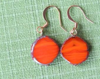 Orange earthy dangle earrings